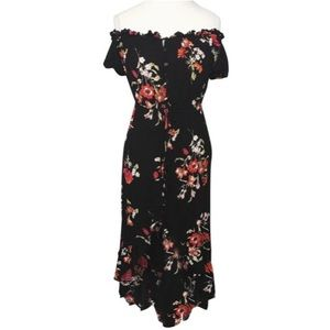 BAND OF GYPSIES Black Floral Hi-Low Maxi Dress